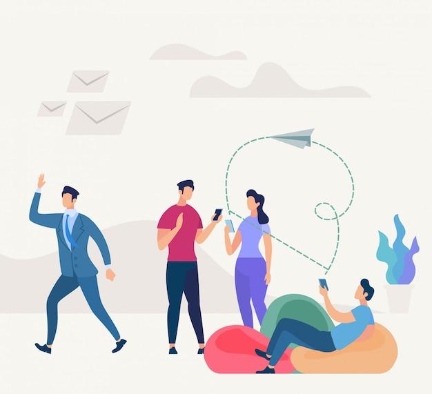 Coworking networking menschen. geschäftsgemeinschaft
