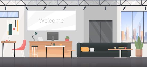 Coworking room interieur, leerer moderner bürowohnungsarbeitsplatzhintergrund