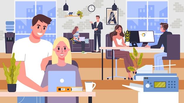 Coworking space. geschäftsleute arbeiten im team. arbeiter sitzen am schreibtisch. idee der kommunikation und zusammenarbeit. illustration, web-banner-konzept