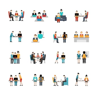 Coworking space icons set