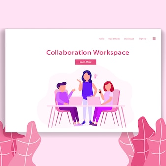 Coworking space illustration landing page