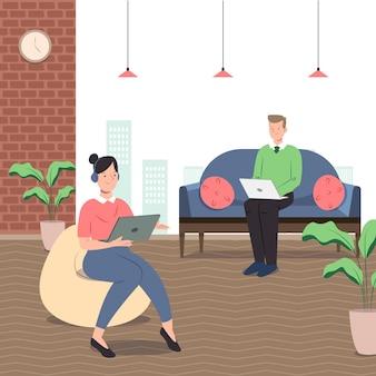 Coworking space mit flachem design
