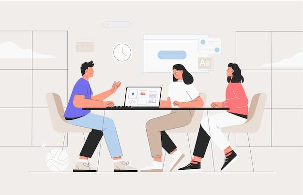 Coworking space mit geschäftsleuten, die am tisch sitzen. sie analysieren diagramme und berichte. vektorillustration für co-working, teamwork, arbeitsplatzkonzept. team, das am projekt arbeitet. Premium Vektoren