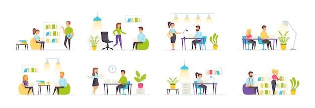 Coworking space mit personencharakteren in verschiedenen szenen und situationen.