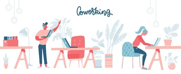 Coworking space mit vielbeschäftigten menschen, die am tisch gehen und sitzen