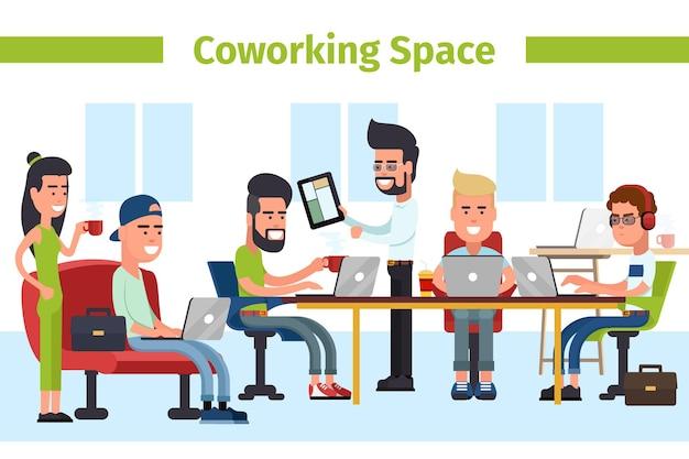 Coworking space raum. coworking center für geschäftstreffen, kommunikation mit büromitarbeitern und coworking. illustration