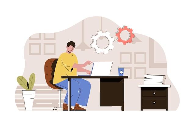 Coworking space-web-konzeptillustration mit flachem menschencharakter