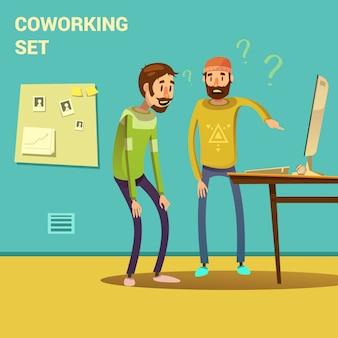 Coworking stellte mit der problemlösungs- und lösungssymbolkarikatur-vektorillustration ein