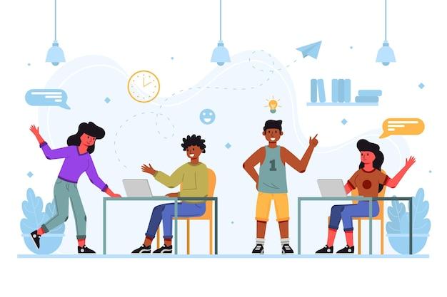 Coworking team drinnen zeichentrickfiguren
