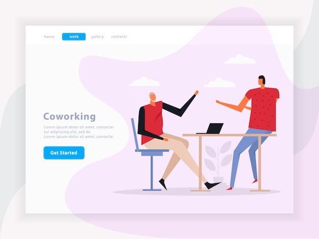 Coworking teamarbeit landing page