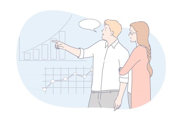 Coworking, teamwork, business-präsentationskonzept