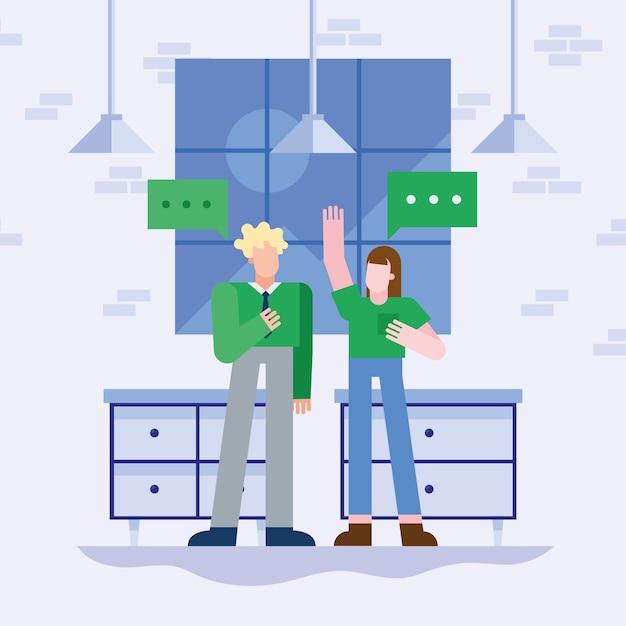 Coworking von frau und mann mit blasen im büro
