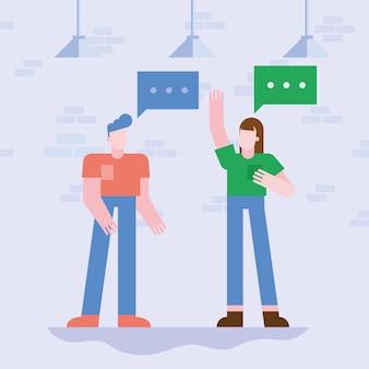 Coworking von frau und mann mit blasen