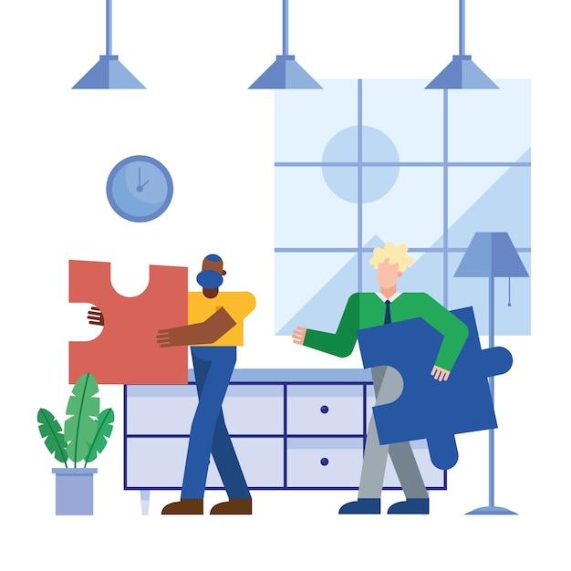 Coworking von männern mit rätseln im büro