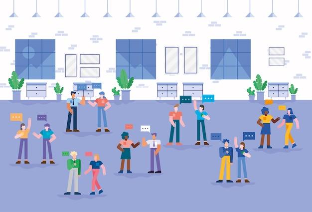 Coworking von menschen mit blasen im büro