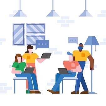 Coworking von menschen mit laptops und blasen im büro
