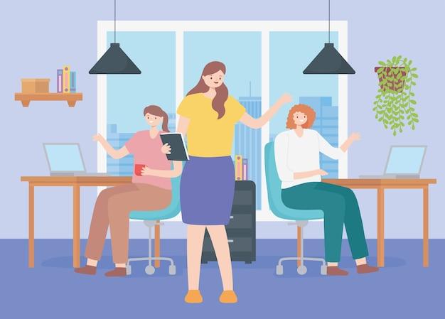 Coworking, weibliche charaktere des büroteams am schreibtisch mit computer.