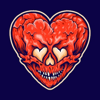 Cracked heart love skull illustration