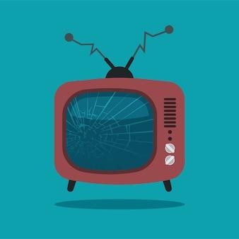 Cracked screen retro-tv. gebrochenes karikaturfernsehen mit gebogener antenne lokalisiert auf blauem hintergrund.