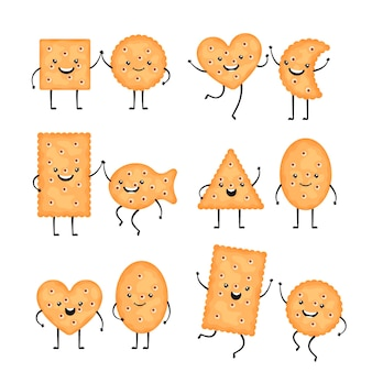 Cracker-charaktere. lustige keksplätzchen im cartoon-stil. lächelnde chips, snacks in verschiedenen formen - kreis, fisch und andere isoliert auf weißem hintergrund. vektor-illustration