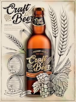 Craft beer anzeigen, exquisites flaschenbier in der illustration lokalisiert auf retro-hintergründen mit weizen, hopfen und fass im radierungsschattierungsstil