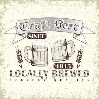 Craft beer typografie emblem mit hölzernen bierkrügen