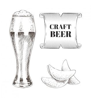 Craft beer und fried chips set
