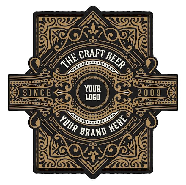 Craft beer vintage label. geschichtet