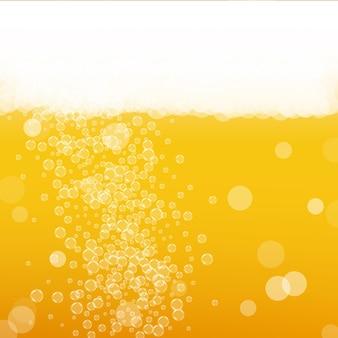 Craft-bier-hintergrund. lagerspritzer. oktoberfestschaum. goldenes flyer-konzept. bayerisches bier mit realistischen blasen. kühles flüssiges getränk für bar. gelbe tasse für oktoberfestschaum.