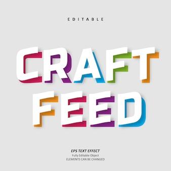 Craft-feed-titel bunter texteffekt editierbarer premium-premium-vektor