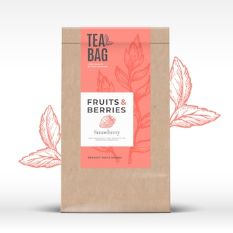 Craft paper bag mit obst und beeren tee etikett.