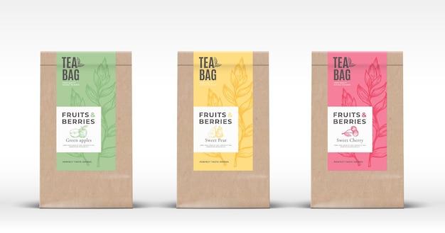 Craft paper bag mit obst und beeren tee etiketten set.