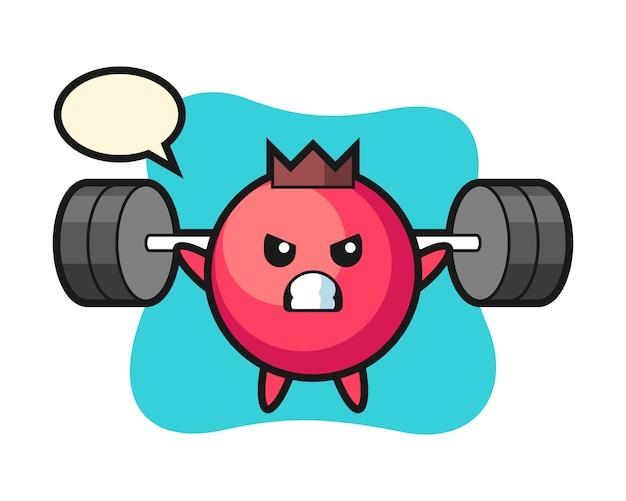 Cranberry maskottchen cartoon mit einer langhantel, niedlichen stil, aufkleber, logo-element