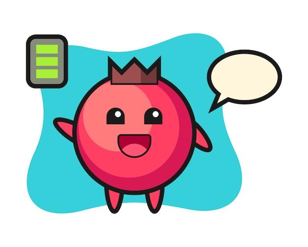 Cranberry-maskottchencharakter mit energetischer geste, niedlichem stil, aufkleber, logoelement