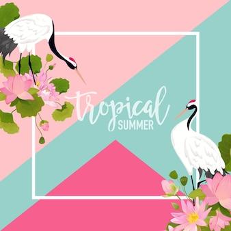 Crane birds, lotus flowers and leaves summer banner, tropischer grafischer hintergrund, exotische blumeneinladung, flyer oder karte. moderne startseite in vektor