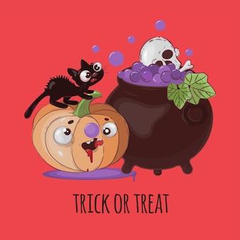 Crazy cat halloween kürbistier funny cartoon hand gezeichnet illustration set