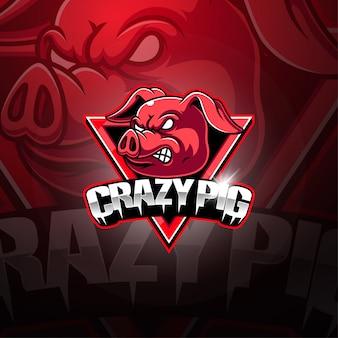 Crazy pig esport maskottchen logo