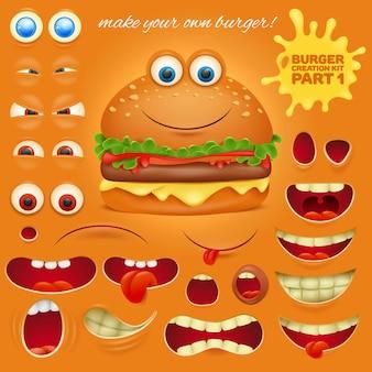 Creation kit von emoticon burger zeichentrickfigur.