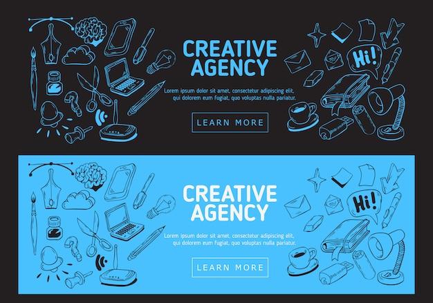 Creative agency office web-banner. handgezeichnete skizzenhafte illustrationen von wesentlichen verwandten objekten des täglichen arbeitens dinge und werkzeuge.