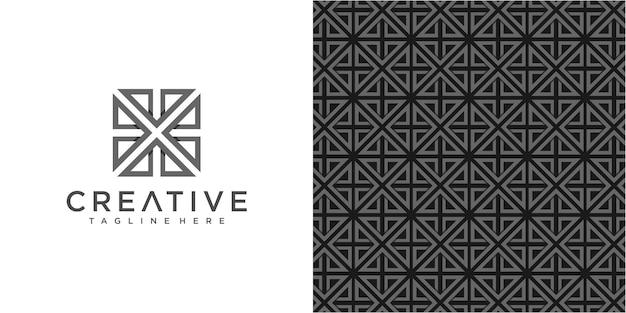 Creative arrow community-logo-designvorlage mit einfachem muster