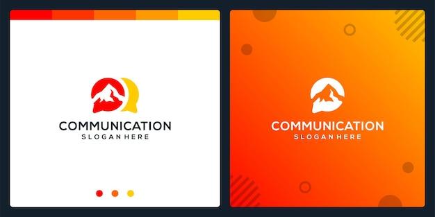 Creative-chat-symbol und berglogo. premium-vektor.