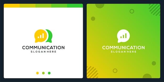 Creative-chat-symbol und diagramm-logo für die investitionsfinanzierung. premium-vektor.