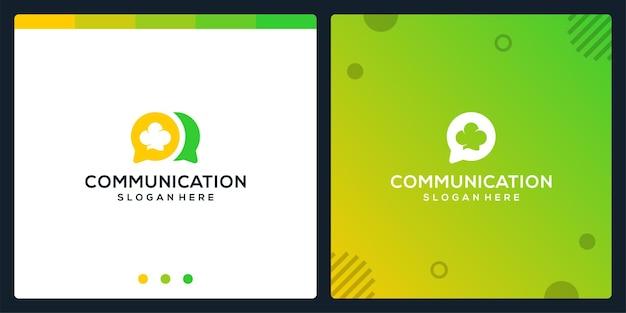 Creative-chat-symbol und kochmütze-logo. premium-vektor.