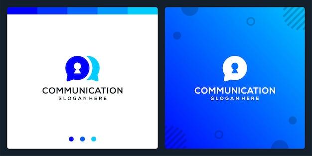 Creative-chat-symbol und schlüsselloch-logo. premium-vektor.