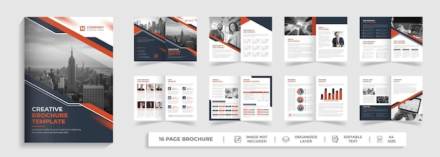 Creative corporate modern 16-seitige mehrzweck-business-broschüre und firmenprofil-vorlage mit roter und schwarzer form