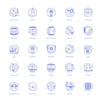 Creative designs line icons pack