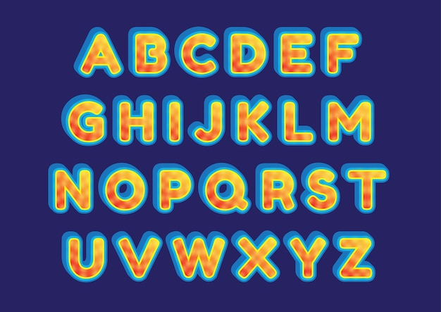 Creative fire sun effect alphabete set