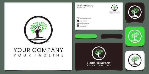 Creative love nature-logo und visitenkarte premium-vektor