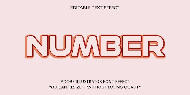 Creative-nummer bearbeitbare vektor-text-effekt-schriftart