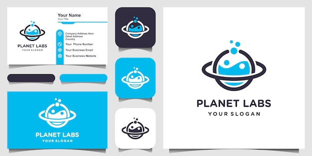 Creative planet labs logo und visitenkarte